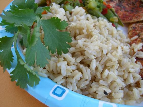 Alton Brown's Baked Brown Rice  (Perfect brown rice every time).  I've been using this recipe since I switched to brown rice several months ago--works perfectly and is delicious!