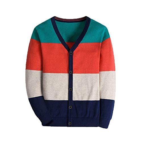 Boys Cardigan 100/% Cotton Long Sleelve Striped Sweater for Kid Toddler 3-14 Years