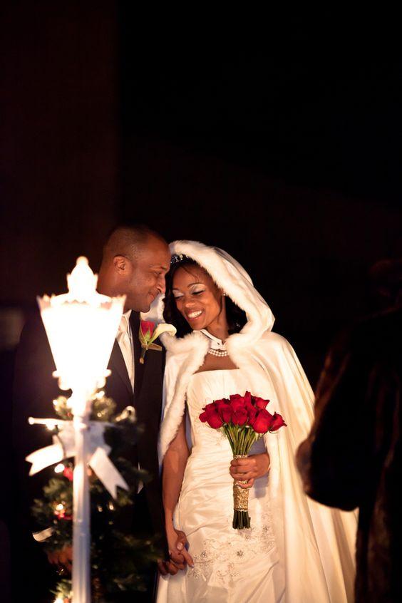 GOD I LOVE A GOOD WEDDING CAPE!! Cheree and David's Winter Wonderland Wedding by Amy Lashelle