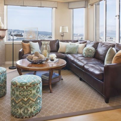 Modern Living Room Brown Leather Couch Design, Pictures, Remodel, Decor and Ideas