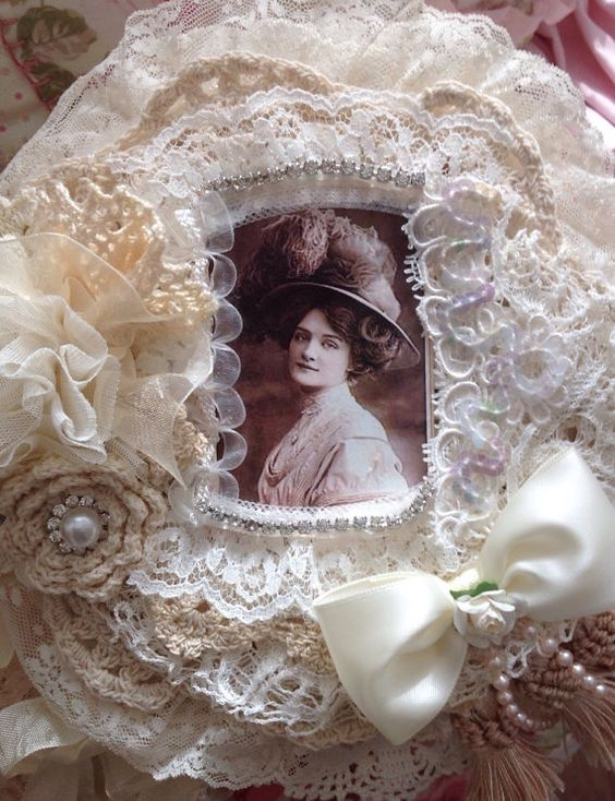 Gorgeous Decorative Shabby Chic Vintage Doily Fabric Journal , vintage images, lace, applique, wedding, bridal: