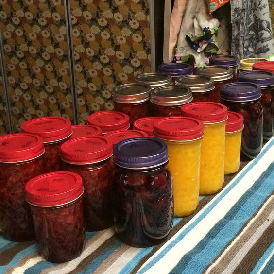 Jamming with Mandy & Laura; strawberry, mango & cherries