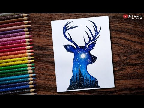 Beautiful Night Sky Double Exposure Drawing With Water Colour Pencils Speed Drawing Youtube Pencil Colour Painting Colorful Drawings Oil Pastel Art