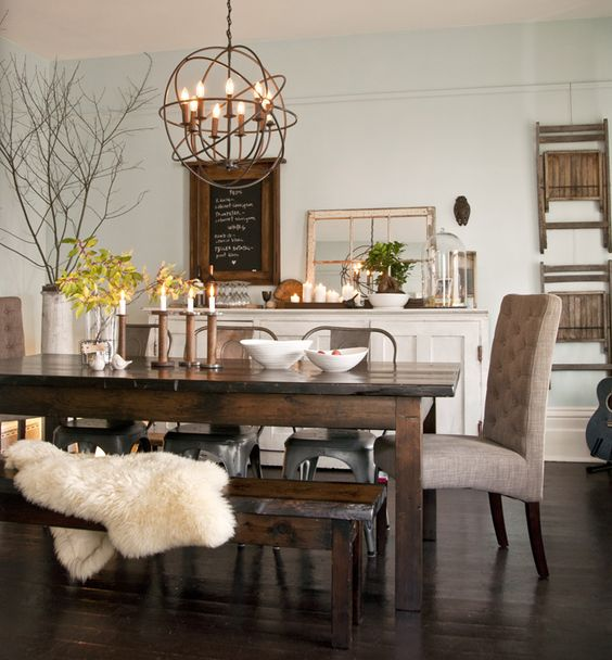 Fab dining room makeover by Tin Barn Market in Almonte, ON using items the home owners already had.- looove table, end chair, with bench, and decor: