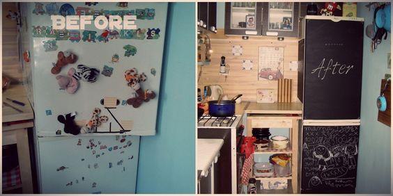 De koelkast werd te vol met al die stickers. Het verwijderen van de stickers was het ergste werk. Krijtbord verf ging snel en wat een rust :D En het leukste is natuurlijk dat mijn dochter elke dag kan krijten <3