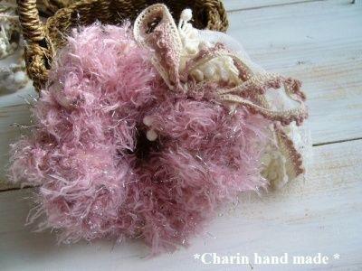 * Charin Hand made *レースふわふわシュシュ/ピンクベージュ