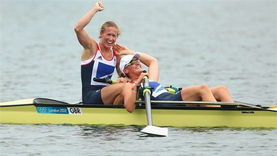 Rowing gold for Team GB  Heather Stanning and Helen Glover celebrate after winning gold in the women's Pair final on Day 5 of the Games at Eton Dorney.