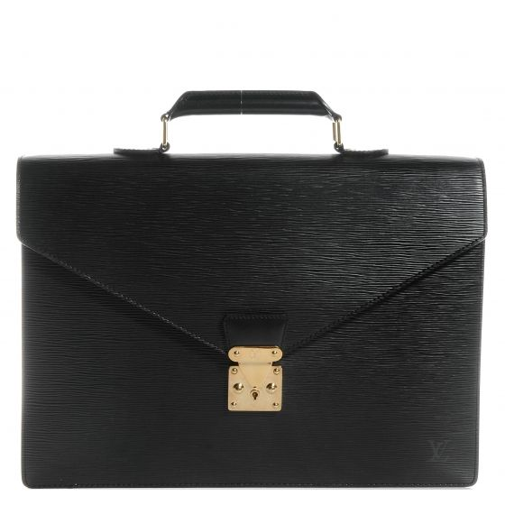 This is an authentic LOUIS VUITTON Epi Serviette Ambassadeur Briefcase in Noir Black.   This stylish case is crafted of Louis Vuitton signature textured epi leather.