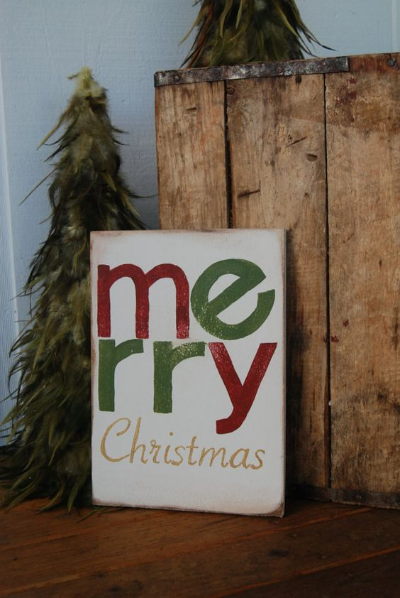 Merry Christmas Hand Painted Wood Sign  aged  Red by ASign4Life