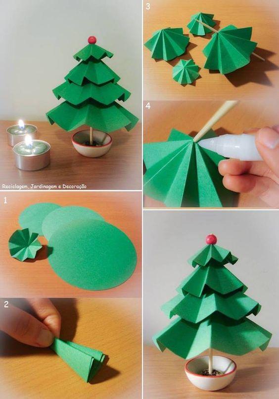 Pino de papel adornos con papel pinterest navidad - Manualidades de navidad con papel ...