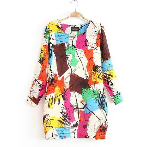 graffiti printed dress Color: Print, Size: M, L, XL, XXL, XXXL, Material: Polyester, Style: Fashion, Casual, Street, Neckline: Round Neck, Sleeve: Long Sleeve, Length: Short, Pattern: Print, Season: Summer, Spring, Fall, Type: Plus Size,
