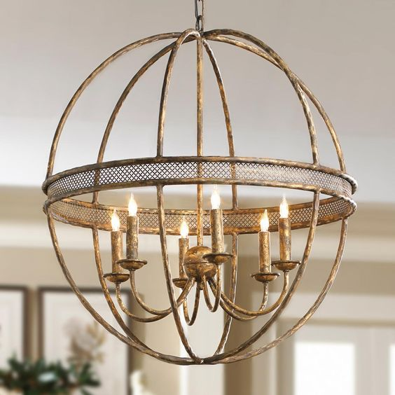 Large Foyer Orb Chandelier : Clear glass sphere chandelier available in colors
