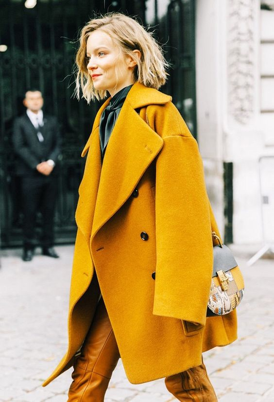 #NYFW, street style, Fall 2017 outfit ideas, blogger style, yellow jacket, yellow trend, bold coat, bold color