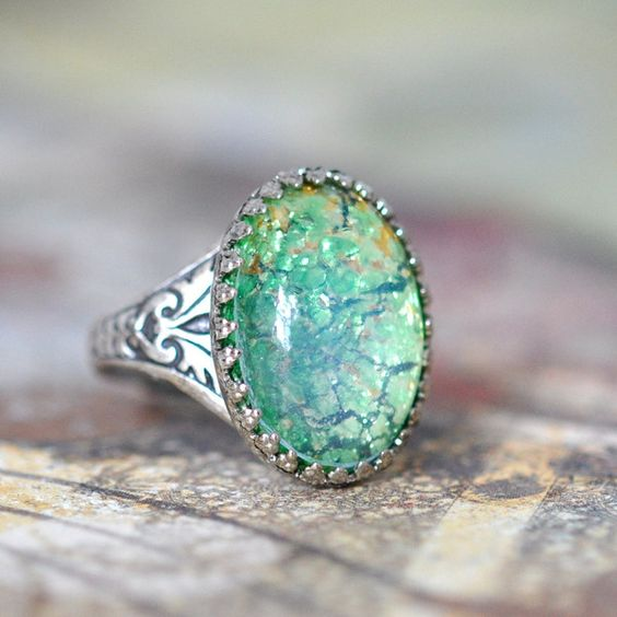 Peridot Green Glass Opal Ring. Vintage glass on Silver ($37) ❤ liked on Polyvore featuring rings