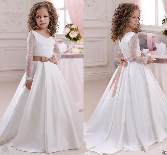 2016 robe de communion princesse fille mariage robe demoiselle d honneur enfant in v tements. Black Bedroom Furniture Sets. Home Design Ideas