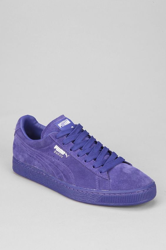 puma suede sneakers gray and purple