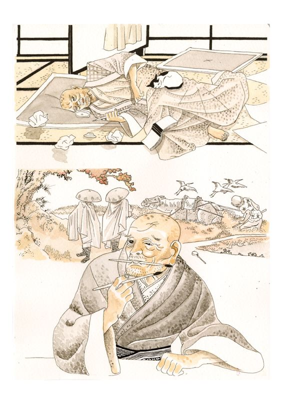 igort: Hokusai's testament, from Japanese notebooks. Drawn in Capitana december 2014.