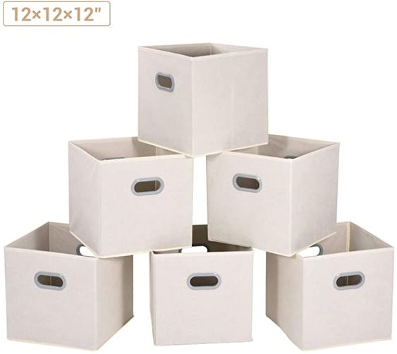 Amazon Com Maidmax Cloth Storage Bins Cubes Baskets Containers With Dual Plastic Handles For Home Cl In 2020 Storage Bins Closet Storage Bins Collapsible Storage Bins