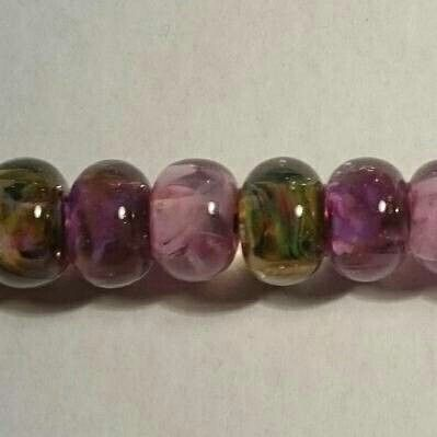 I love these beads, made using coloured fritts and crystal clear Murano glass, by Destiny Pier