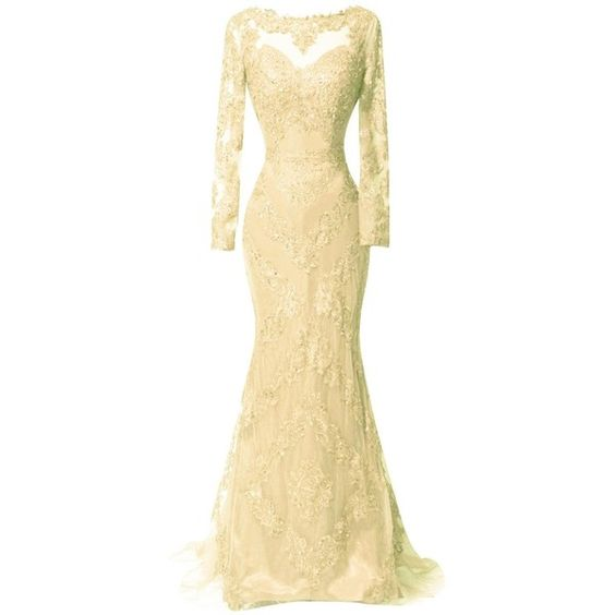 ORIENT BRIDE Scoop Beaded Appliques Formal Evening Dresses with Long... ($170) ❤ liked on Polyvore featuring dresses, beige bridal dresses, beige long sleeve dress, beaded formal dresses, beige dress and long sleeve bridal dresses