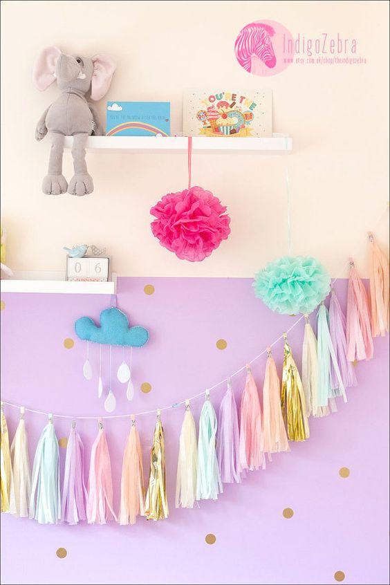 "Tassel bricolage Garland - ""Penelope"" - menthe, or, lilas, bébé rose, pêche, vanille."