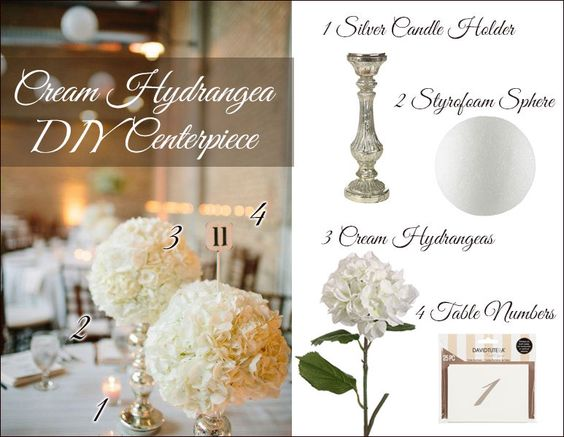 Gorgeous and simple DIY hydrangea centerpiece. Get a glam look for your vintage or classic wedding centerpieces. #weddingflowers Centerpiece photo from Style Me Pretty: