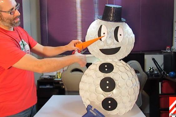 Comment fabriquer un bonhomme de neige en verres de plastique comment - Fabriquer un bonhomme de neige ...
