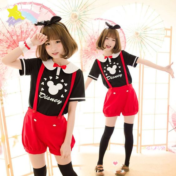 Cute cartoon straps shorts/T-shirt