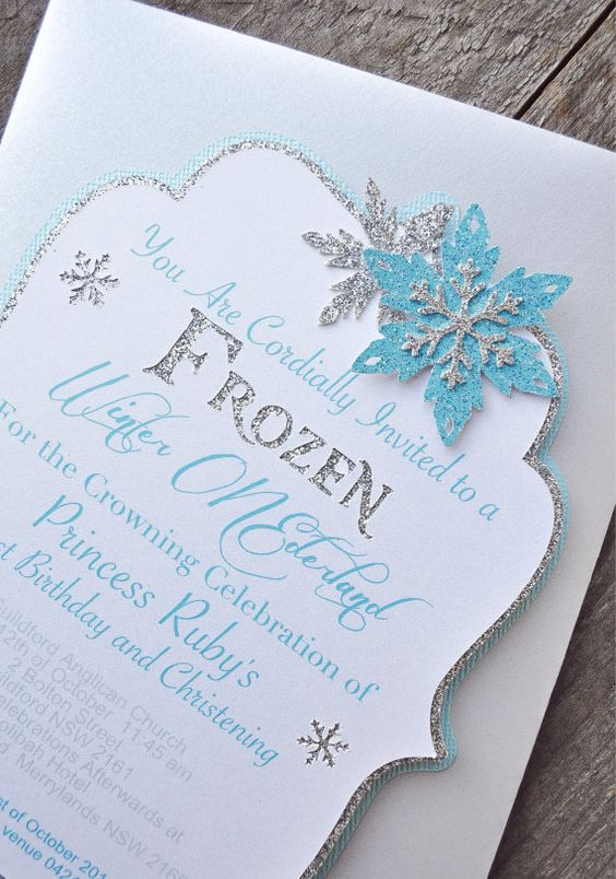 Winter Wonderland/ Frozen theme Hand Crafted Invitations by HOCDesignsMarket, $60.00