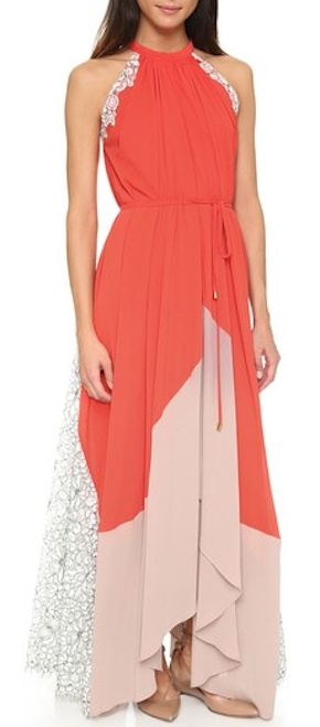 beautiful coral chiffon gown