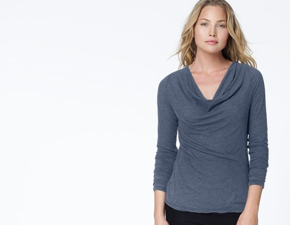 James Perse Relaxed Raglan Cowl Neck Top