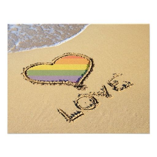 Gay Rainbow Love Heart In The Sand Custom Announcements