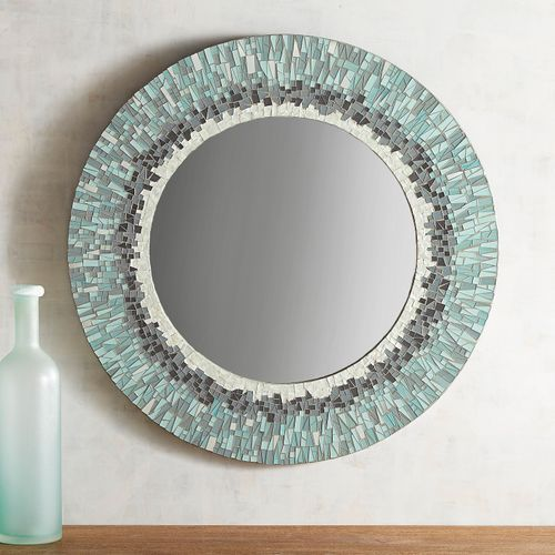 Mosaic Striations 31 5 Round Mirror Round Mirror Decor Coastal Mirrors Round Mirrors