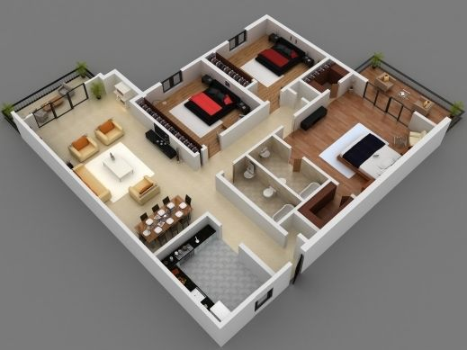 Awesome 25 More 3 Bedroom 3d Floor Plans 1000 Sq Ft House Small Three 4 Room House Planning 3d Images Small House Plans 3d House Plans Small House Design