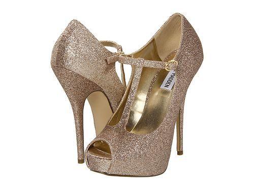 Steve Madden Geaa Gold Glitter Platform Shoes Dress Pumps Heels T Strap Wedding Ebay
