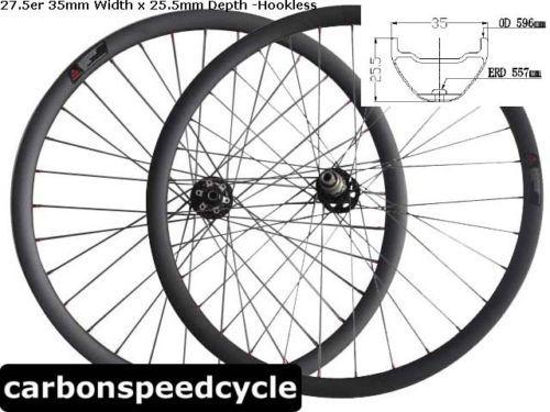 Bead-Hookless-35mm-Wider-x25-5mm-Depth-clincher-27-5-carbon-MTB-bike-wheels