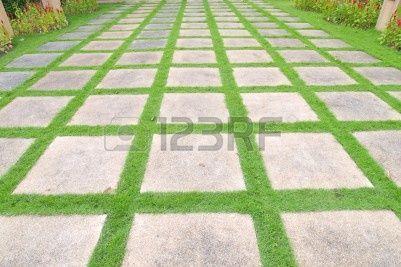 Mooie gras tegels lopen weg in de tuin Stockfoto - 11481169