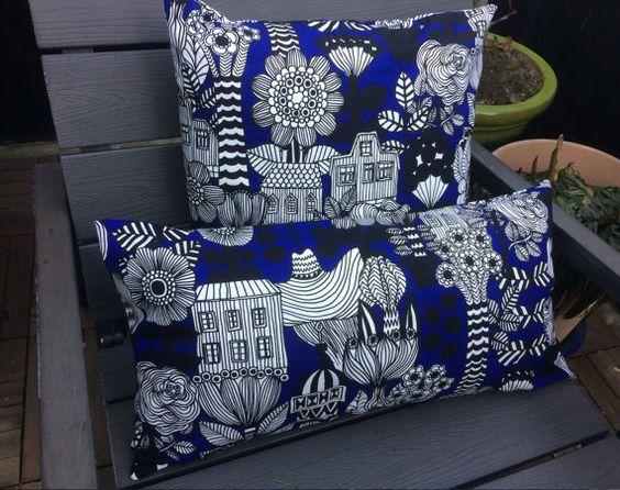Lintukotonen pillow cushion case gorgeous blue color by OttaShop