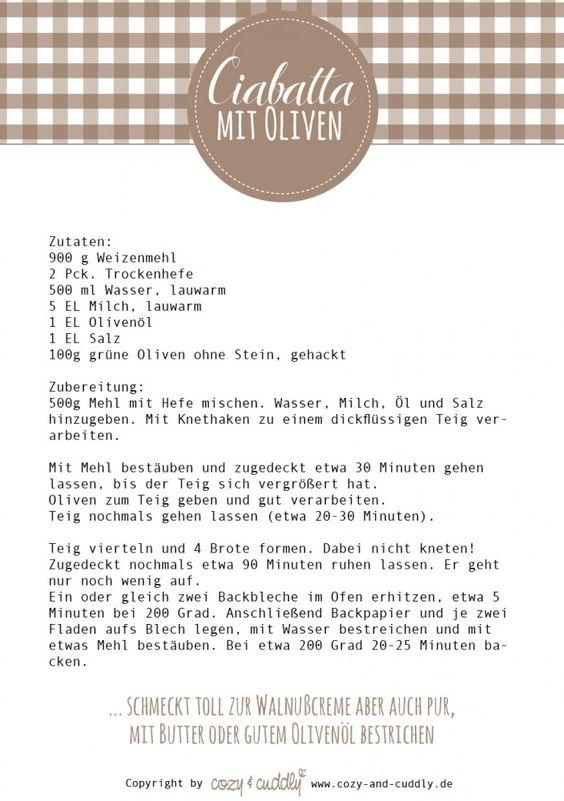 """Rezept zum Ausdrucken: Zum Picknick von """"Post aus meiner Küche"""" Ciabatta mit Oliven"""