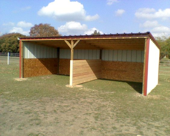 Loafing sheds custom barns and storage buildings built for Shed roof pole barn plans