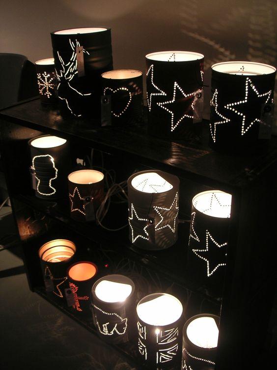 lampe boite de conserve deco pinterest bouteilles de shampoing le recyclage et lanterne. Black Bedroom Furniture Sets. Home Design Ideas