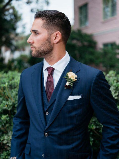 Kevin Kiermaier in dark navy pinstripe suit