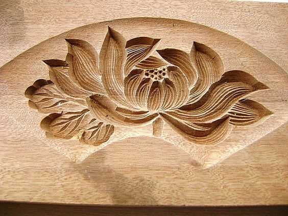 Kashigata - Vintage Japanese Sweets Mold - Lotus Flower Fan Shape - We Love Etsy