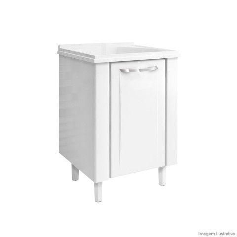Gabinete de lavanderia aço com Tanque 60cm branco Cozimax - Telhanorte