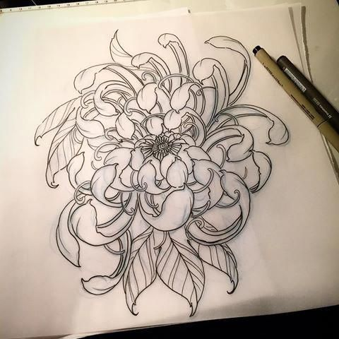 Image Result For Neo Traditional Tattoo Flower Traditional Tattoo Flowers Flower Tattoo Shoulder Chrysanthemum Tattoo