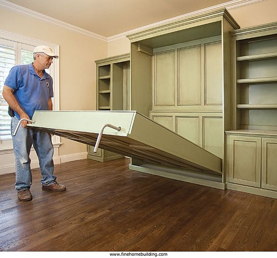 Lee want a built in murphy bed in the study with a door for Murphy garage doors