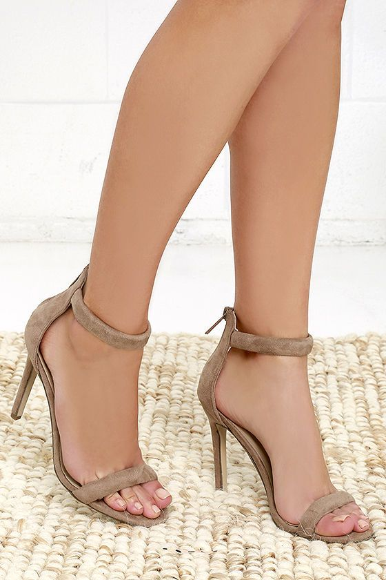 Meet Your Match Beige Suede Ankle Strap Heels | Brown, Vegans and ...