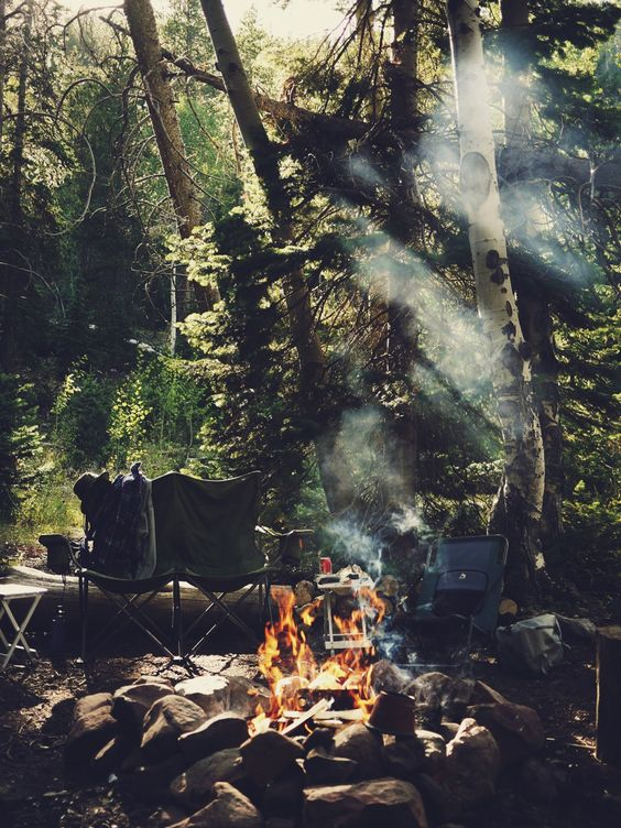 breakfast, camp fire, forest, camping, eating outdoors, adventure, smoke, chairs: