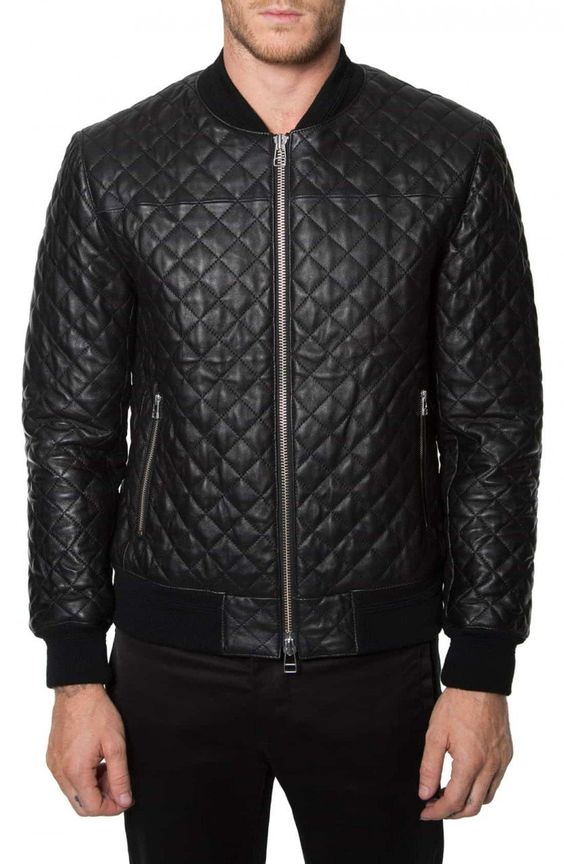 Quilted Leather Bomber Jacket Men | Outdoor Jacket