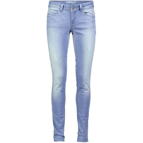 ONLY Coral Regular Skinny Slim Fit Jeans (£36) ❤ liked on Polyvore featuring jeans, pants, bottoms, light blue denim, coral skinny jeans, skinny leg jeans, light blue ripped skinny jeans, distressed skinny jeans and tall skinny jeans